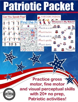 Patriotic Sensory Motor Packet - Fine, Gross and Visual Motor Activities