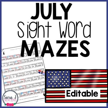 Editable Sight Word Games - American Flag Mazes