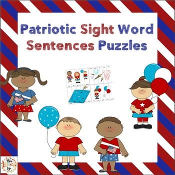 Patriotic Sight Word Puzzles