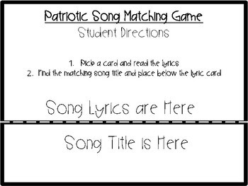 Patriotic Song Matching Game