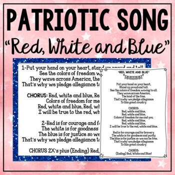 """Patriotic Song """"Red, White and Blue"""" Unison Video Sing-a-long & Mp3 Tracks"""