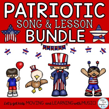 Patriotic Song and Music Lesson Bundle: Orff, Kodaly, Choral Round, Mp3 Tracks