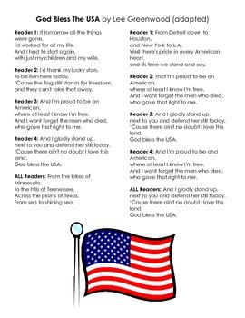 Patriotic Songs Reader's Theatre - FREEBIE