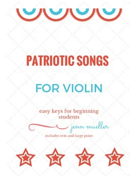 Patriotic Songs, Sheet Music for Easy Violin, Voice, Flute
