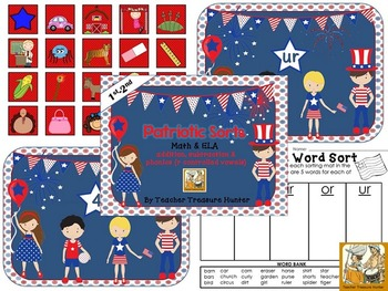 Patriotic Sorts ~Math(add & subtract) and ELA(r controlled vowels *July 4th