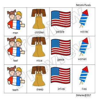Patriotic Speech Therapy Irregular Plurals - 48 hour follower markdown
