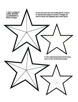 Patriotic Star Collage with Art Elements