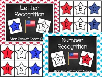 Patriotic Star Letter & Number Recognition