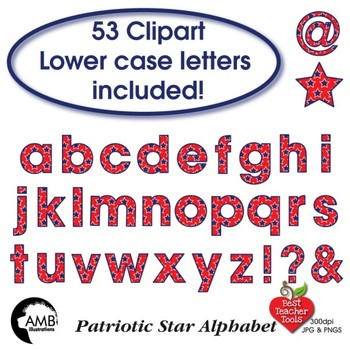 Patriotic Stars Alphabet and Numbers, Blue on Red July Fourth, AMB-389