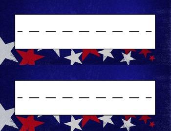 Patriotic Stars Desk Name Tag Plates Set