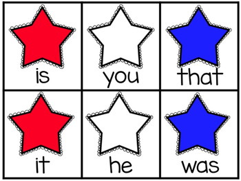 Patriotic Stars Fry's First 50 Sight Word Game