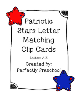 Patriotic Stars Letter Matching Clip  (Fourth of July)
