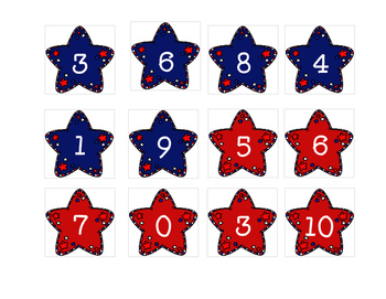 Patriotic Stars Missing Numbers 0-10 (Fourth of July)