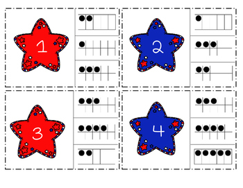 Patriotic Stars Ten Frame Clip Cards (Fourth of July)