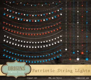 Patriotic String Lights Vector and PNG Clipart