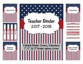 Patriotic Teacher Binder 2017-2018 Editable Binder Covers & Calendars