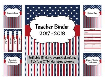 Patriotic Teacher Binder 2017-2018 Editable Binder Covers & Calendars