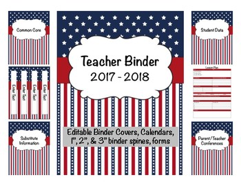 Patriotic Teacher Binder 2016-2017 Editable Binder Covers