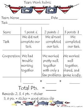 Patriotic Team Work Rubric