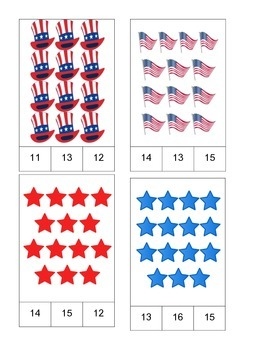 Patriotic Theme Count and Clip Cards! #1-19