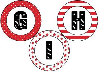 Patriotic Themed 4 inch Circular Bulletin Board Letters