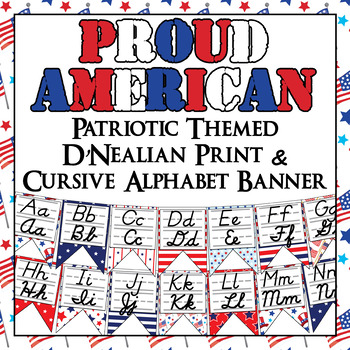 Patriotic Themed Alphabet Banner with D'Nealian Print and Cursive