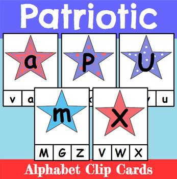 Patriotic Themed Alphabet Clip Cards