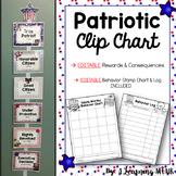 EDITABLE Patriotic Themed Clip Chart and Behavior Log