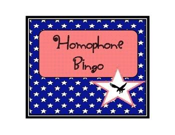 Patriotic Themed Homophone Bingo