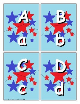 Patriotic Themed Letter Recognition Centers and Puzzles