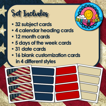 Patriotic Themed Pocket Chart Subject Daily Schedule Cards & Calendar