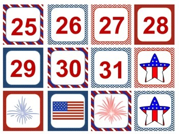 Patriotic Themed (Red, White, and Blue ) Calendar and Weather Pieces