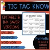Patriotic Themed Tic Tac Know Spelling Choice Boards (Word Work)