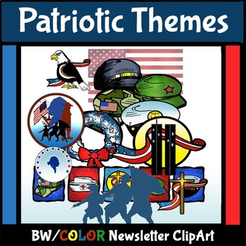 Patriotic Themes, Holidays, and Observances Color/BW ClipArt!