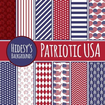 Patriotic USA Backgrounds / Digital Papers / Patterns Clip Art Commercial Use