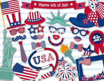 Patriotic USA Photo Booth Props 4th of July President's Da