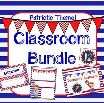 Patriotic USA Theme Classroom Jobs, Newsletter, Nameplates, Incentive BUNDLE!