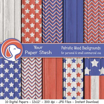 Patriotic Wood Texture Digital Paper Backgrounds, 4th of July, America, Red Blue