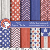 Patriotic Wood Texture Digital Paper Backgrounds, 4th of J