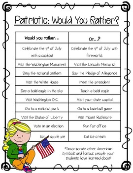 "Patriotic ""Would You Rather"" FREEBIE"