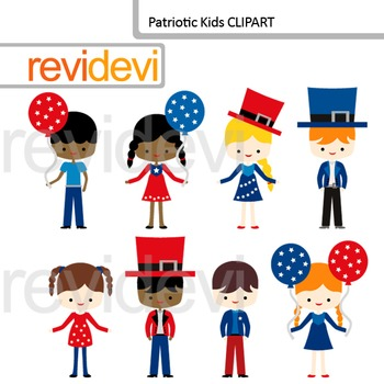 Patriotic kids clip art - Fourth of July - Multi racial children