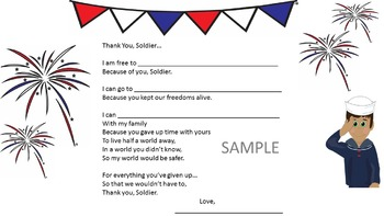 Patriotic military thank you card