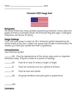Patriotism STEM DESIGN BRIEF American Symbols