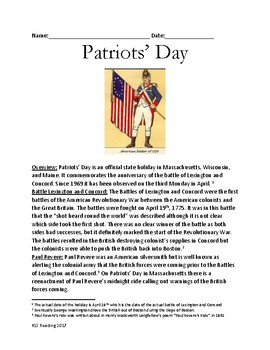 Patriots Day - holiday history information facts review lesson