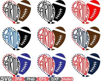 Patriots Hearts football sport sports clipart NFL football heart School -712s