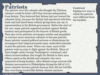 Patriots and Loyalists Reading Activities