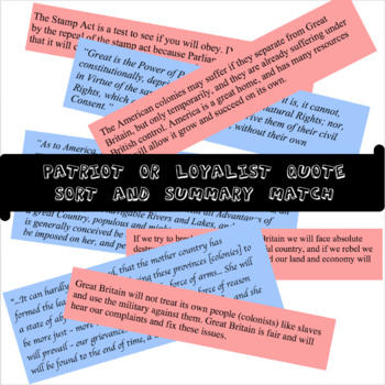 Patriots and Loyalists Lesson (includes Declaratory Act and Quartering Act)