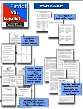Patriots vs. Loyalists: A Common Core Class Debate! Patriots & Loyalists Debate!