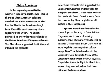 Patriots vs. Loyalists Booklet