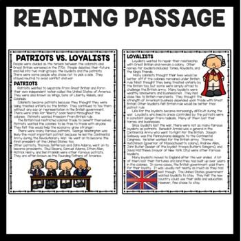 Patriots vs. Loyalists Reading Comprehension; American Revolution